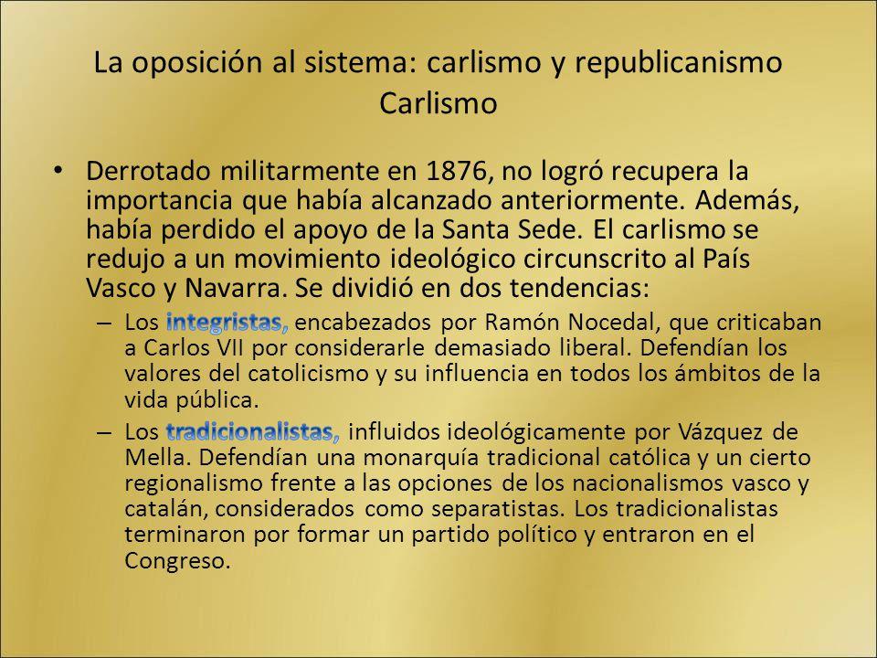 La oposición al sistema: carlismo y republicanismo Carlismo