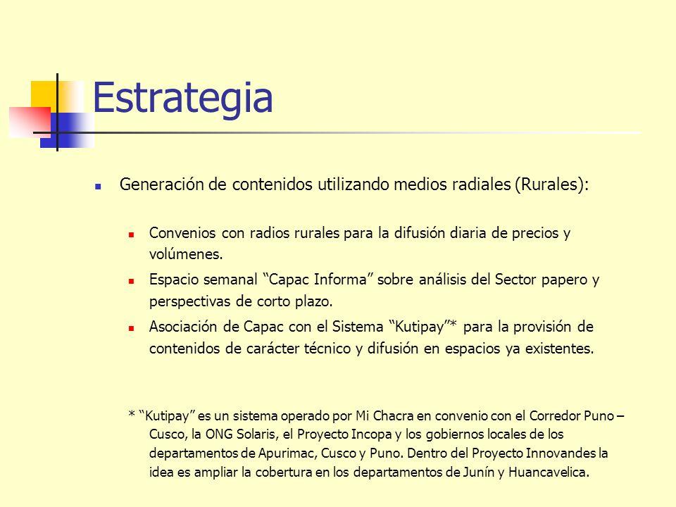 Estrategia Generación de contenidos utilizando medios radiales (Rurales):