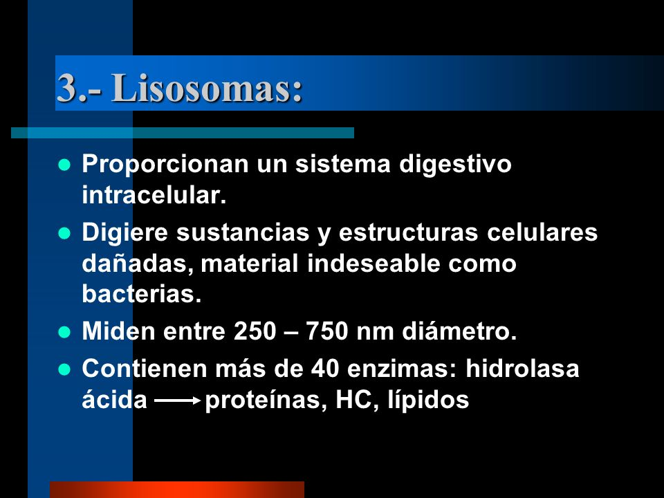 3.- Lisosomas: Proporcionan un sistema digestivo intracelular.