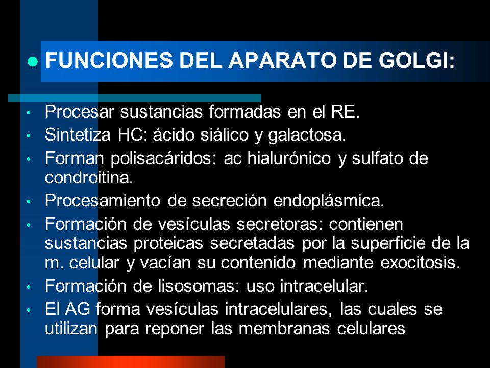 FUNCIONES DEL APARATO DE GOLGI: