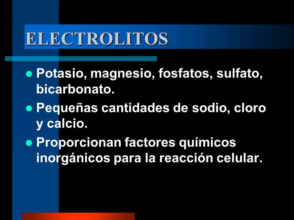 ELECTROLITOS Potasio, magnesio, fosfatos, sulfato, bicarbonato.