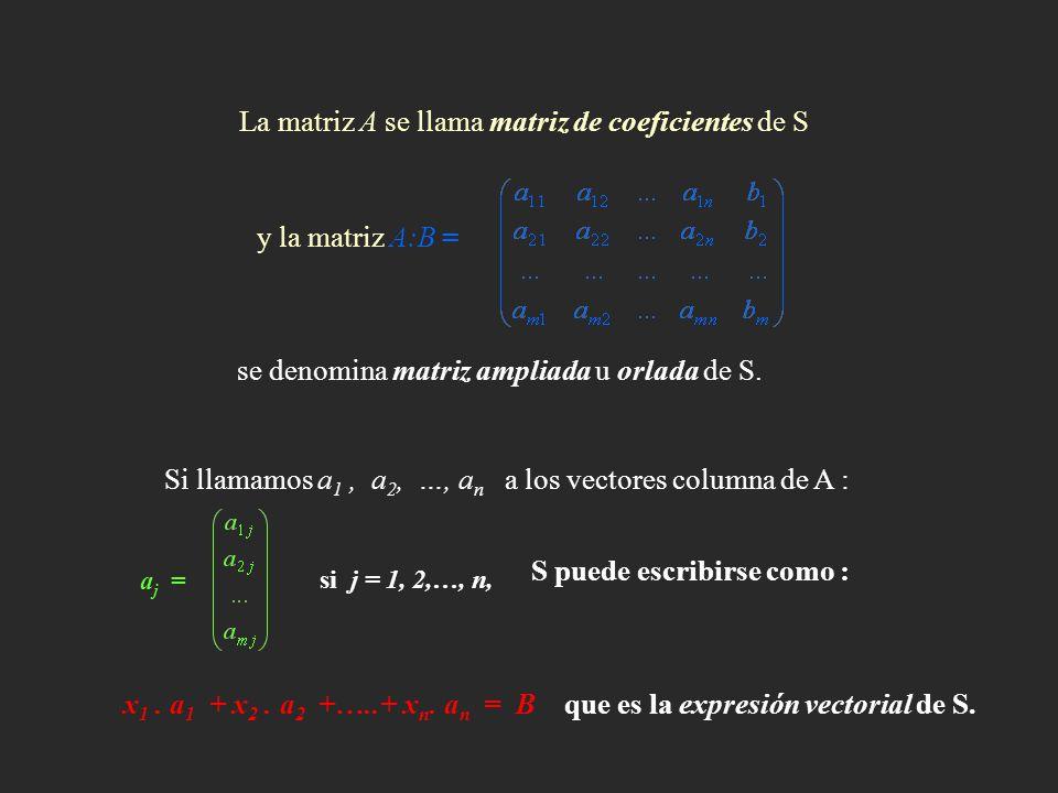 La matriz A se llama matriz de coeficientes de S