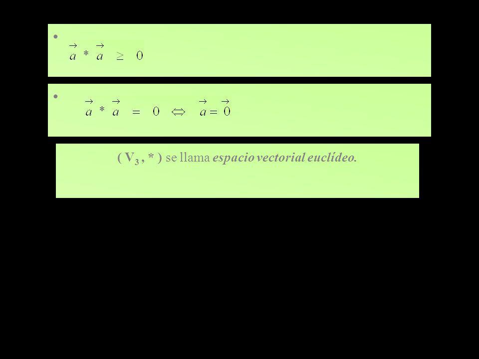 ( V3 , * ) se llama espacio vectorial euclídeo.