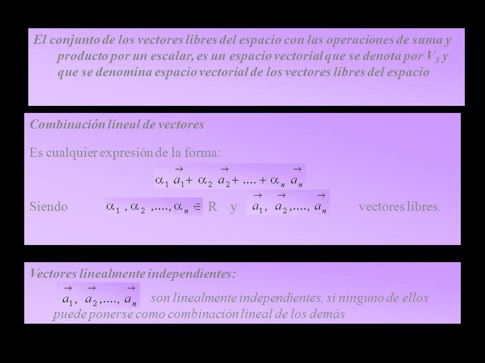 El conjunto de los vectores libres del espacio con las operaciones de suma y producto por un escalar, es un espacio vectorial que se denota por V3 y que se denomina espacio vectorial de los vectores libres del espacio
