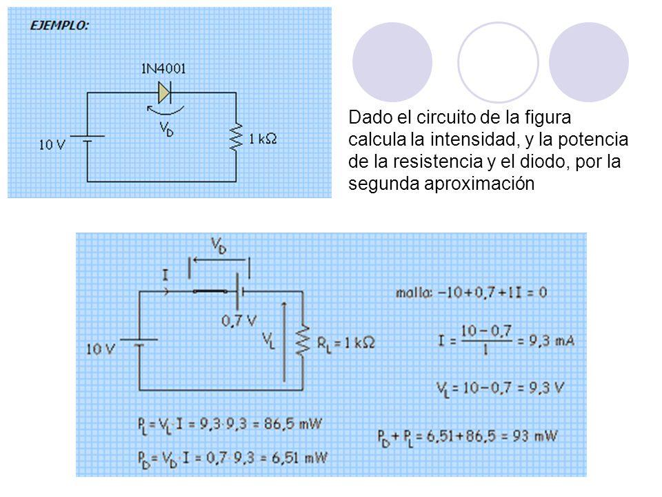 Dado el circuito de la figura calcula la intensidad, y la potencia de la resistencia y el diodo, por la segunda aproximación