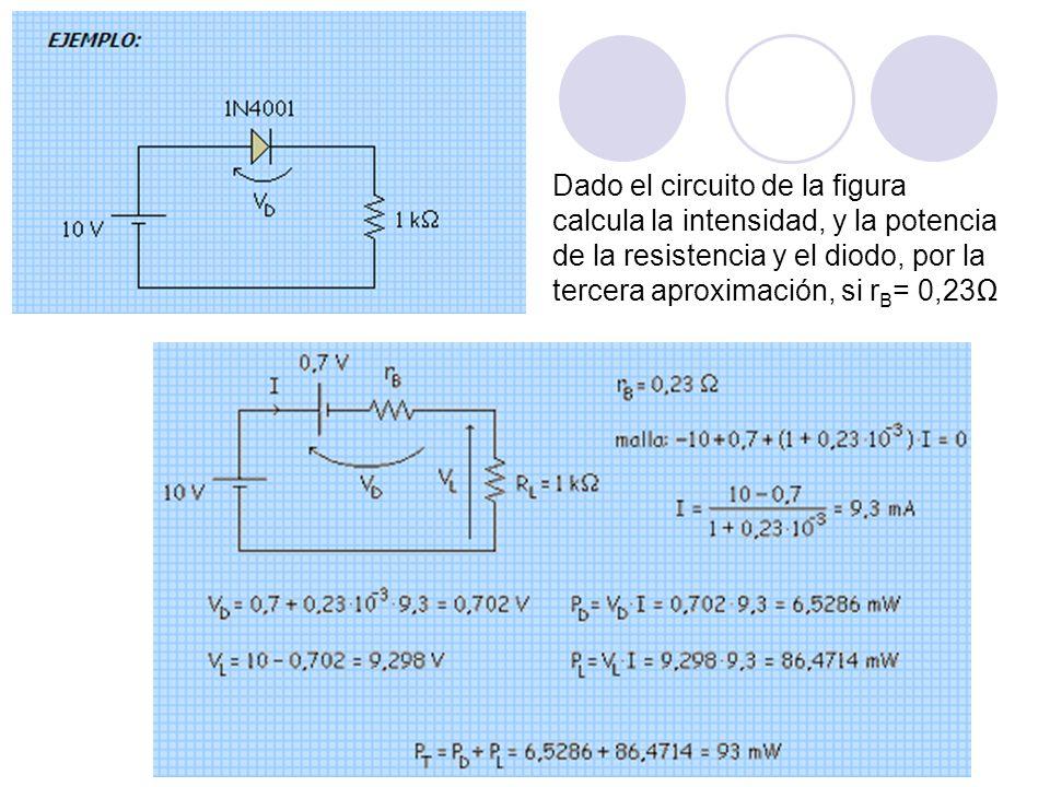 Dado el circuito de la figura calcula la intensidad, y la potencia de la resistencia y el diodo, por la tercera aproximación, si rB= 0,23Ω