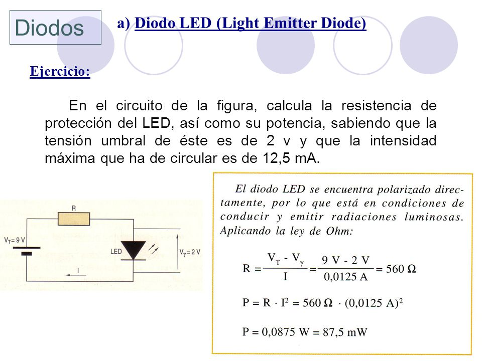 Diodos a) Diodo LED (Light Emitter Diode) Ejercicio: