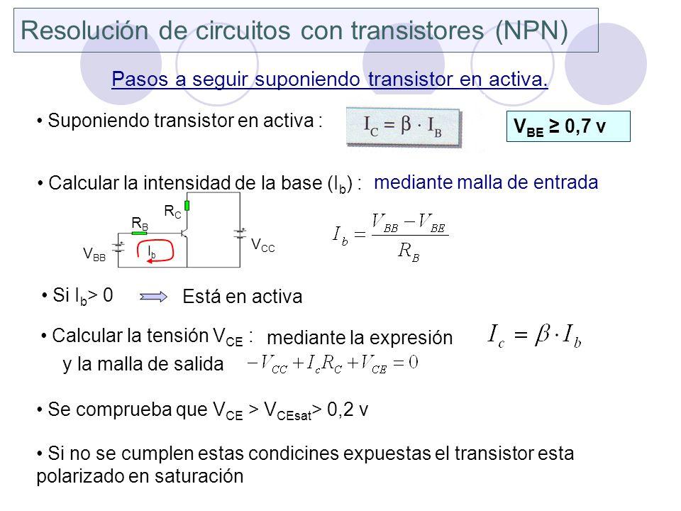 Resolución de circuitos con transistores (NPN)