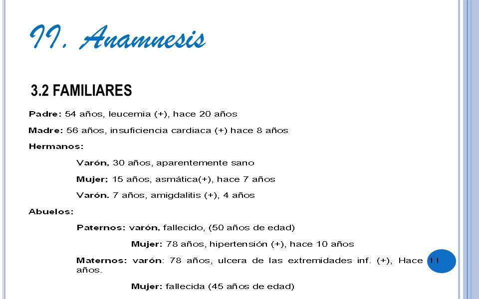 II. Anamnesis 3.2 FAMILIARES