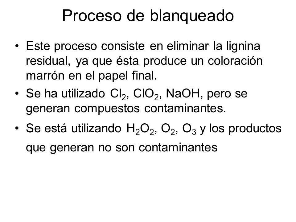 Proceso de blanqueado Este proceso consiste en eliminar la lignina residual, ya que ésta produce un coloración marrón en el papel final.