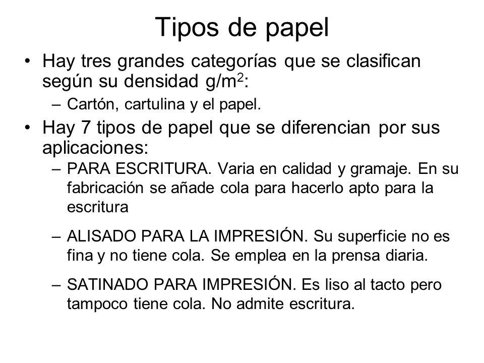 Tipos de papel Hay tres grandes categorías que se clasifican según su densidad g/m2: Cartón, cartulina y el papel.