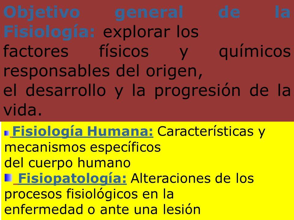 Objetivo general de la Fisiología: explorar los