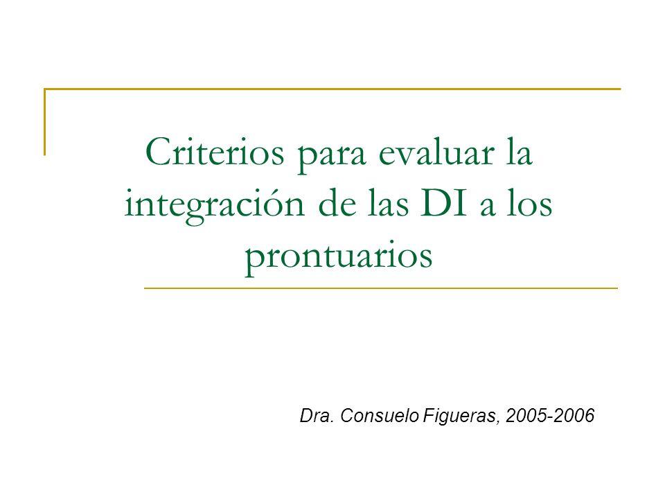Criterios para evaluar la integración de las DI a los prontuarios
