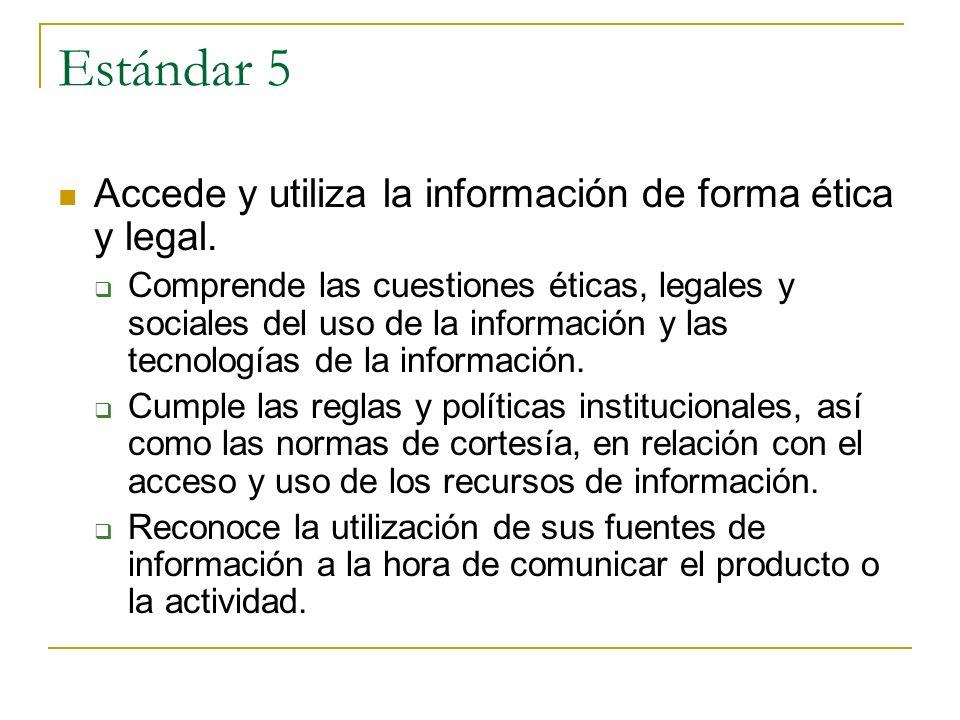 Estándar 5 Accede y utiliza la información de forma ética y legal.