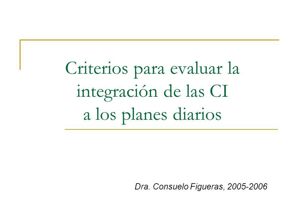 Criterios para evaluar la integración de las CI a los planes diarios