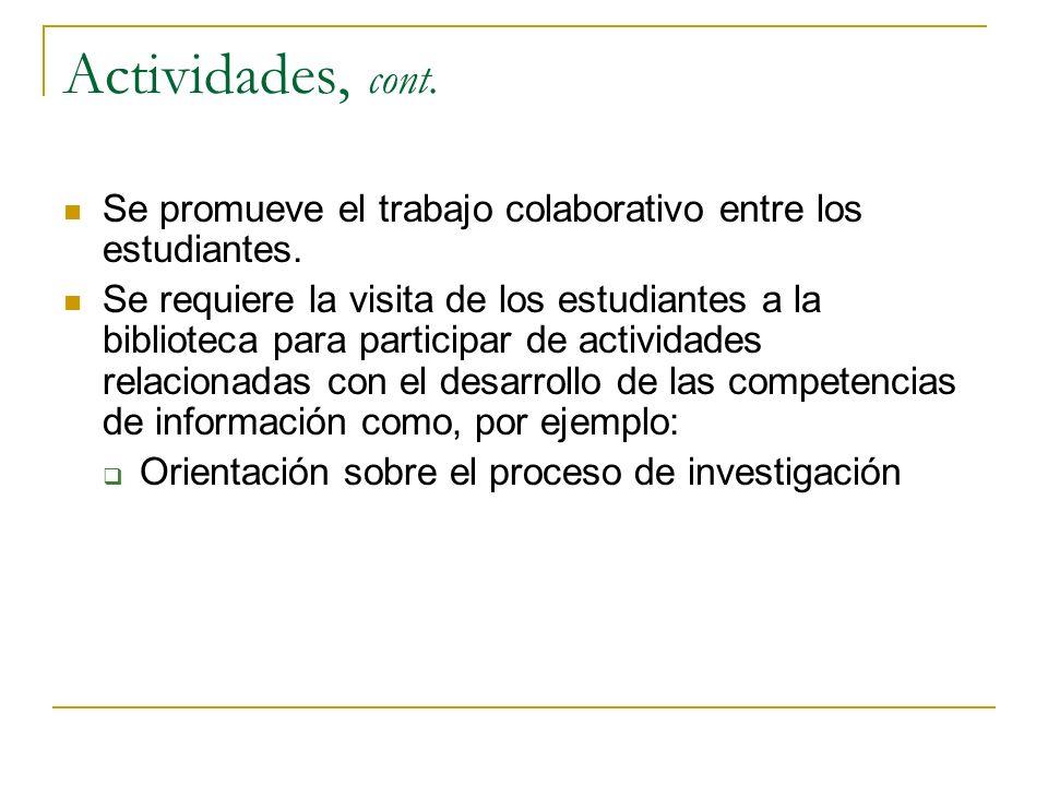 Actividades, cont. Se promueve el trabajo colaborativo entre los estudiantes.