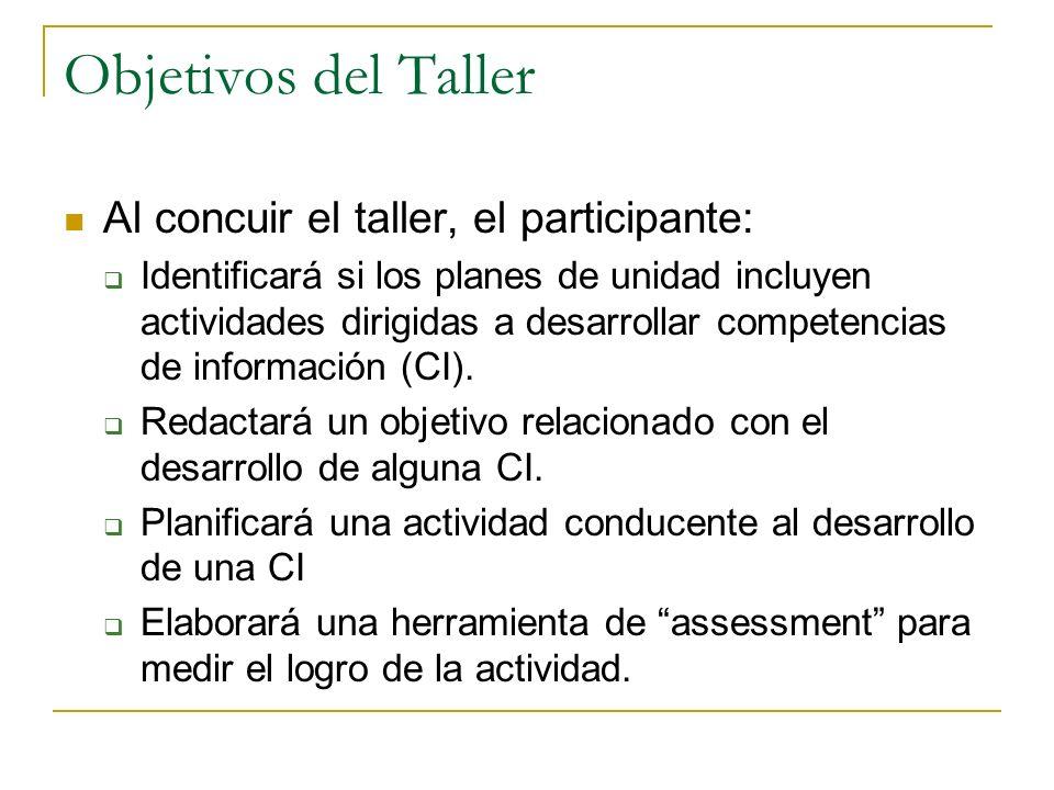 Objetivos del Taller Al concuir el taller, el participante: