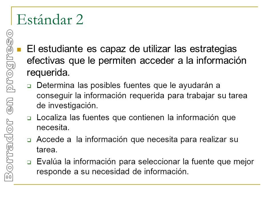 Estándar 2 El estudiante es capaz de utilizar las estrategias efectivas que le permiten acceder a la información requerida.