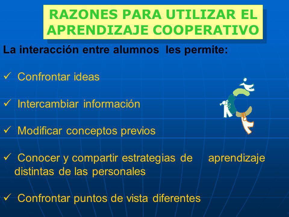 RAZONES PARA UTILIZAR EL APRENDIZAJE COOPERATIVO