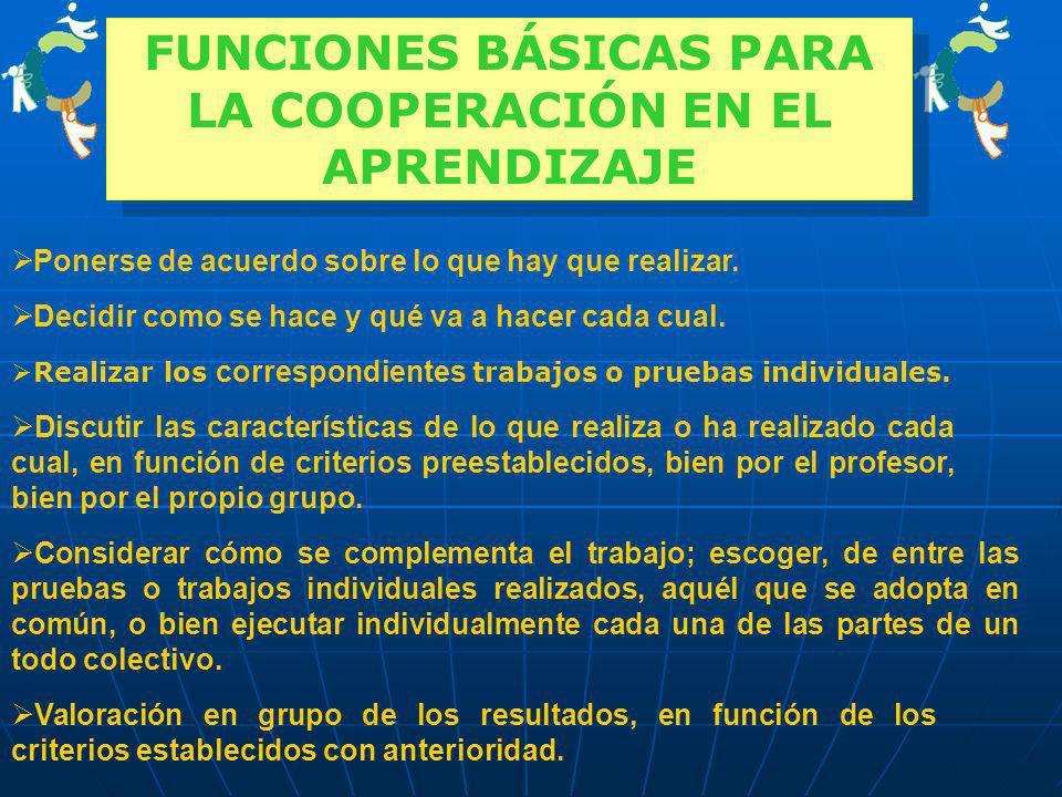 FUNCIONES BÁSICAS PARA LA COOPERACIÓN EN EL APRENDIZAJE
