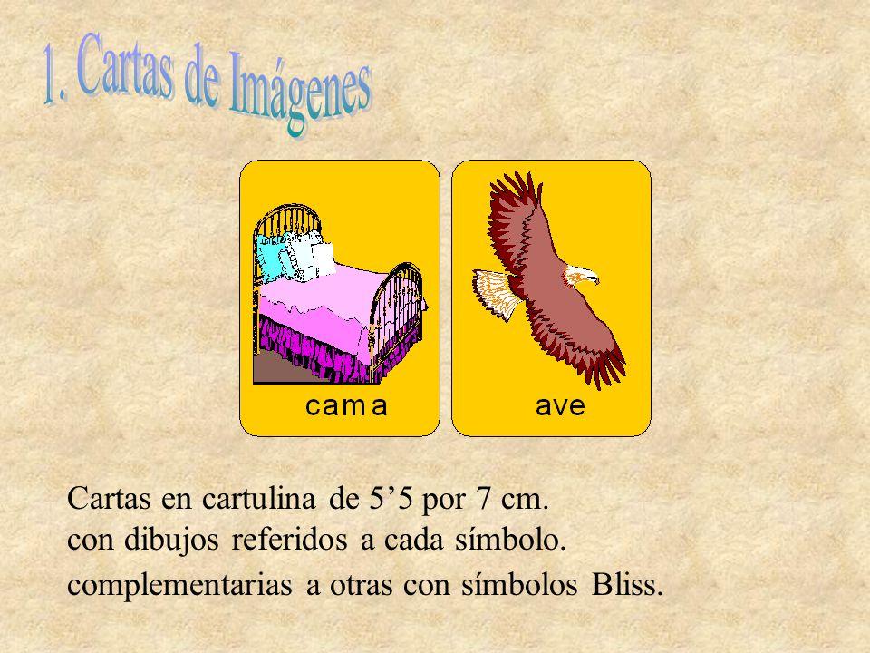 1. Cartas de Imágenes Cartas en cartulina de 5'5 por 7 cm.