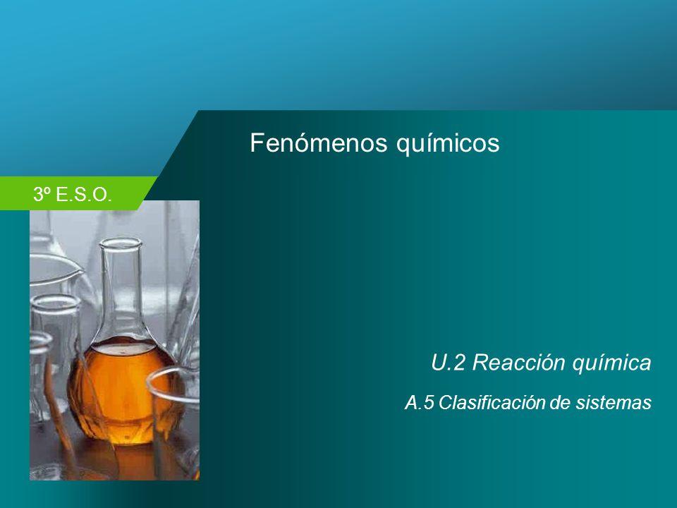 Fenómenos químicos U.2 Reacción química A.5 Clasificación de sistemas