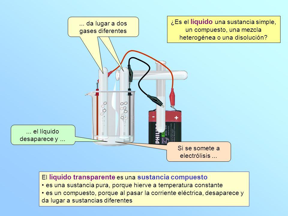 ... da lugar a dos gases diferentes