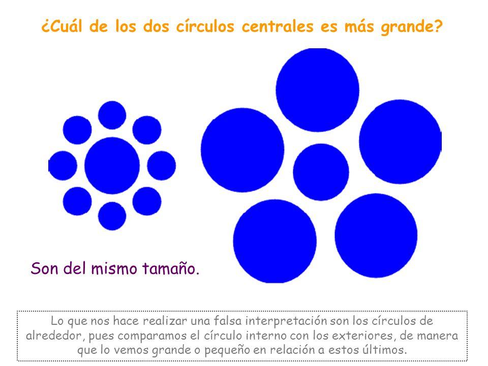 ¿Cuál de los dos círculos centrales es más grande