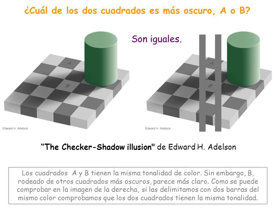 ¿Cuál de los dos cuadrados es más oscuro, A o B