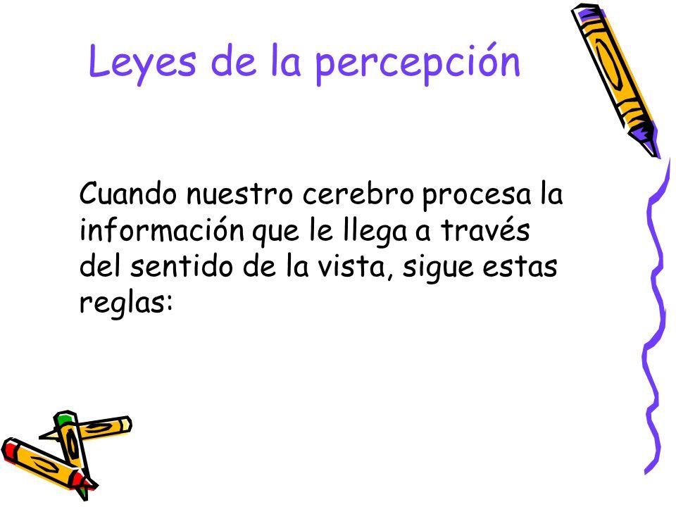 Leyes de la percepción Cuando nuestro cerebro procesa la información que le llega a través del sentido de la vista, sigue estas reglas: