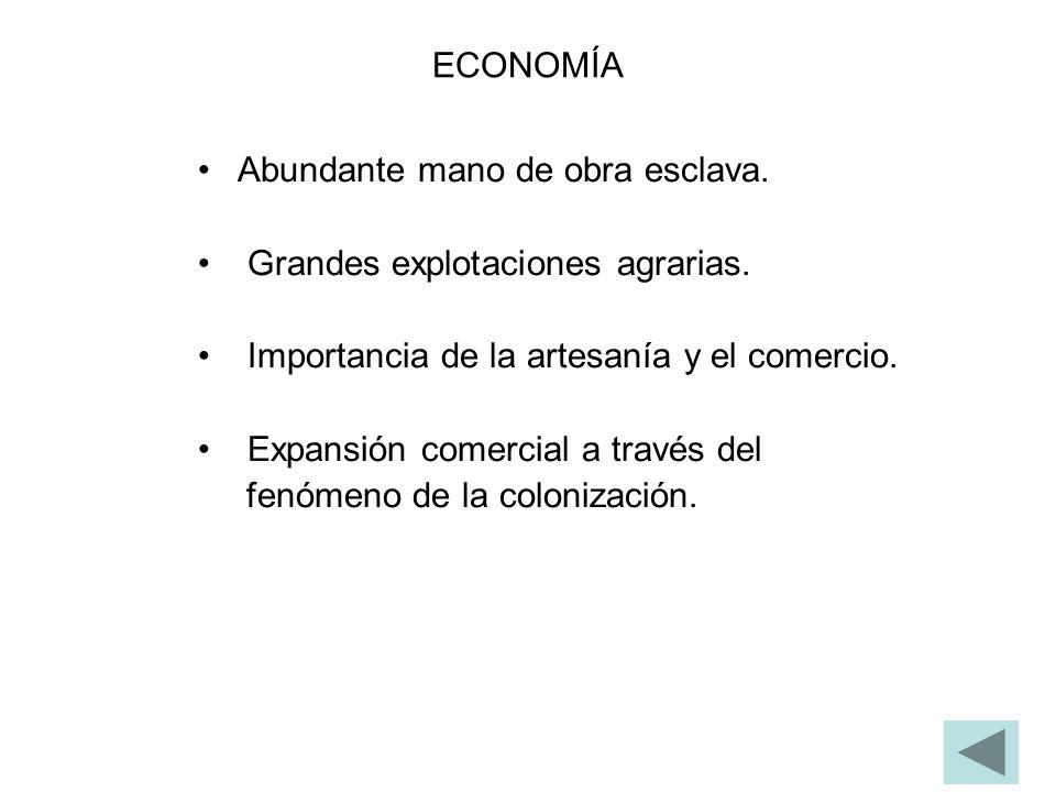 ECONOMÍA Abundante mano de obra esclava. Grandes explotaciones agrarias. Importancia de la artesanía y el comercio.