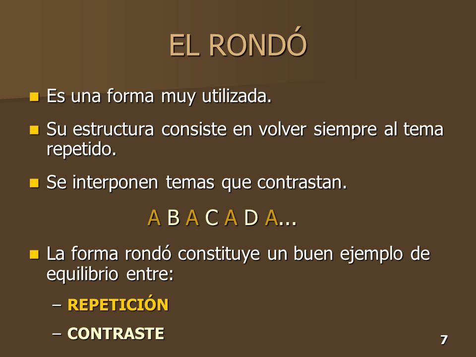EL RONDÓ A B A C A D A... Es una forma muy utilizada.