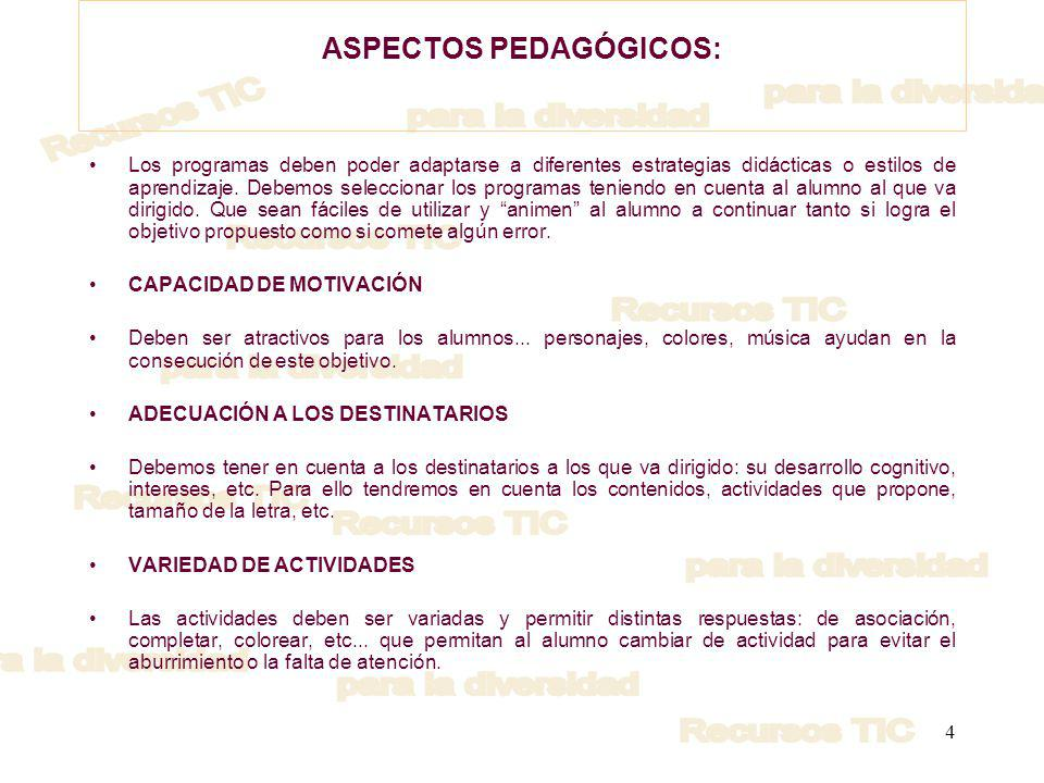 ASPECTOS PEDAGÓGICOS: