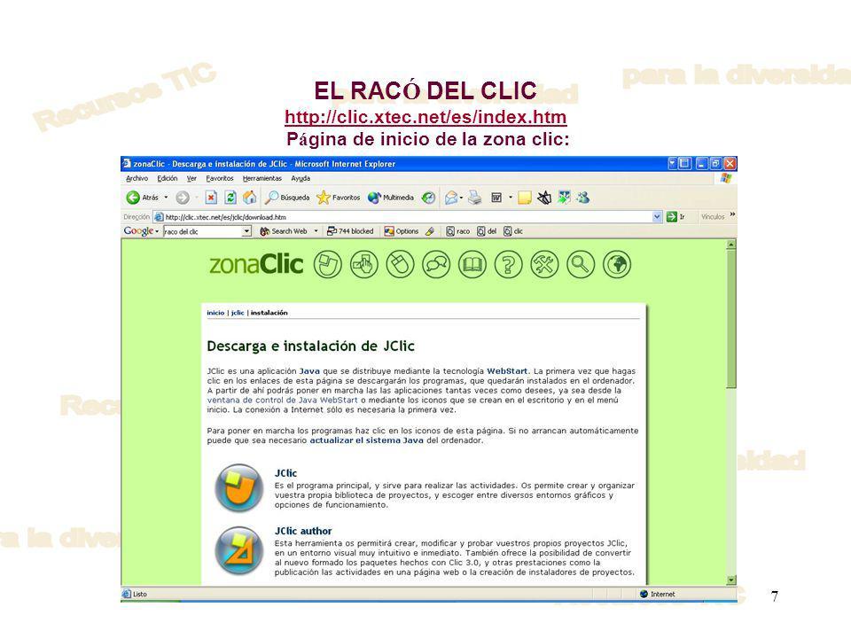 EL RACÓ DEL CLIC http://clic. xtec. net/es/index