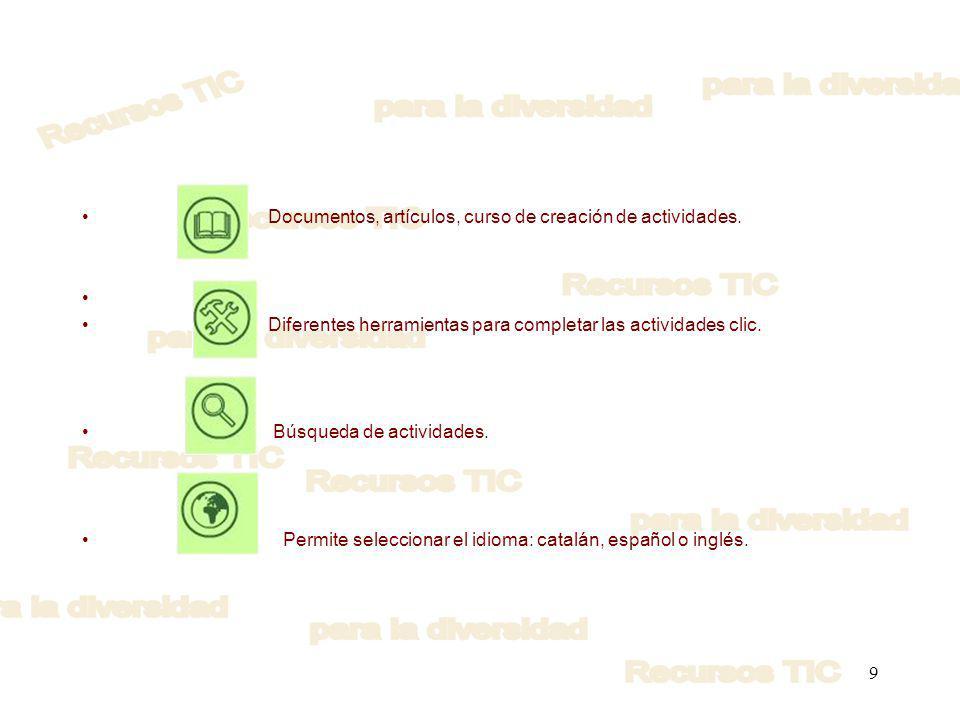 Documentos, artículos, curso de creación de actividades.