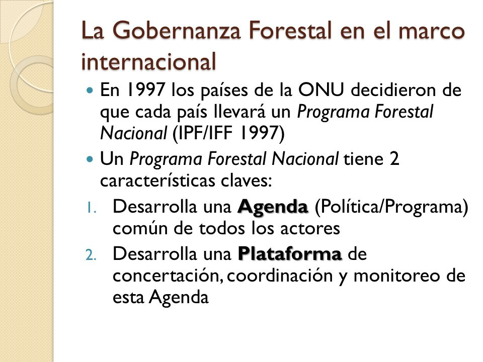 La Gobernanza Forestal en el marco internacional
