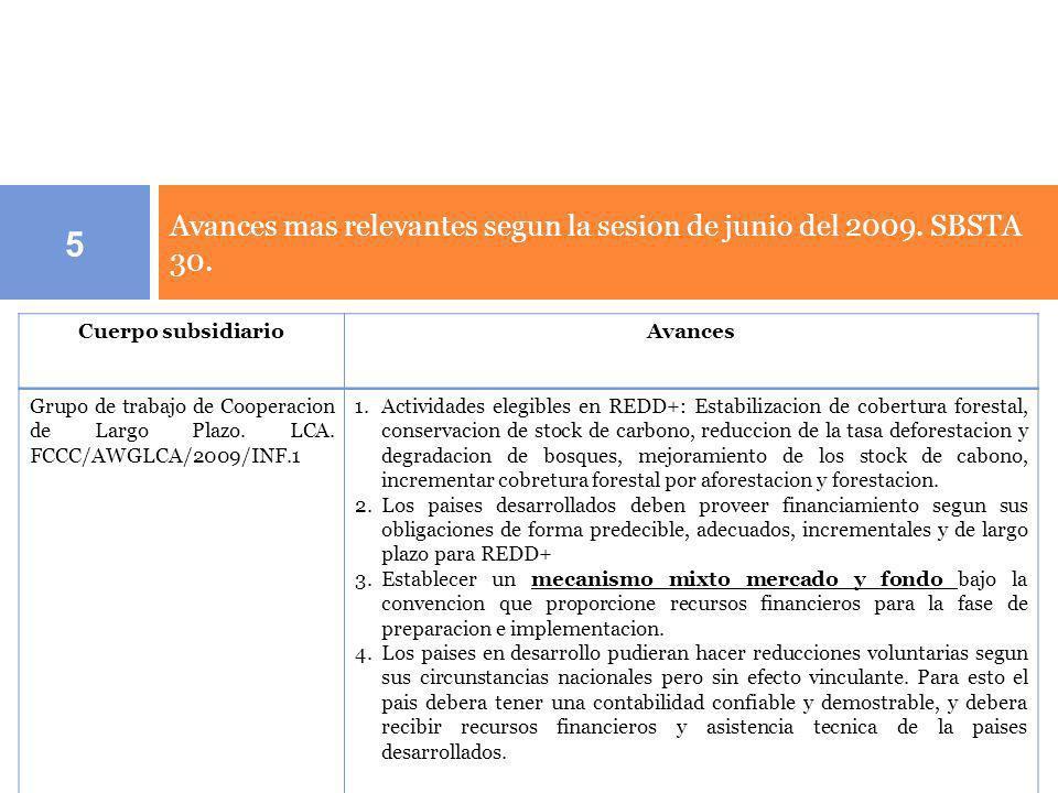 Avances mas relevantes segun la sesion de junio del 2009. SBSTA 30.