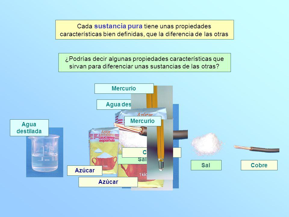 Cada sustancia pura tiene unas propiedades características bien definidas, que la diferencia de las otras