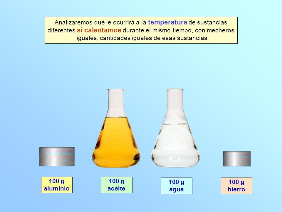 100 g aluminio 100 g aceite 100 g agua 100 g hierro