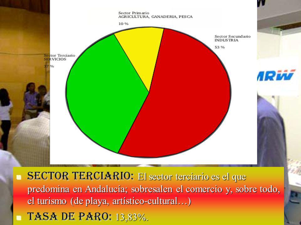 Sector terciario: El sector terciario es el que predomina en Andalucía; sobresalen el comercio y, sobre todo, el turismo (de playa, artístico-cultural…)