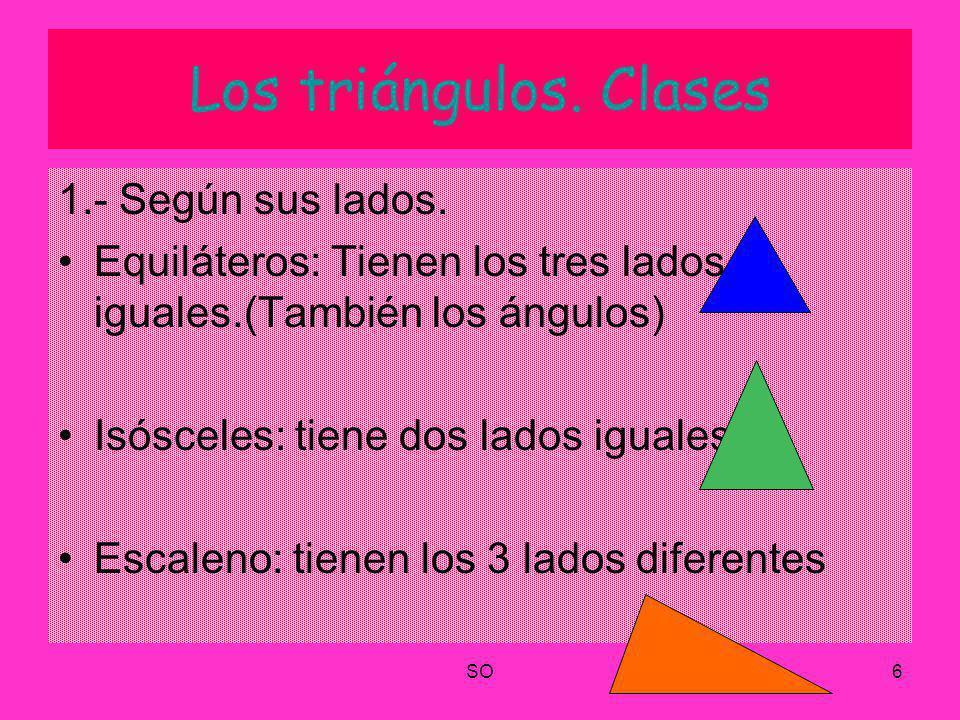 Los triángulos. Clases 1.- Según sus lados.