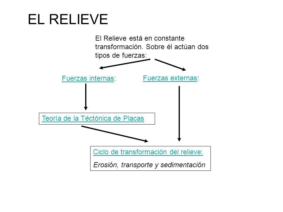 EL RELIEVE El Relieve está en constante transformación. Sobre él actúan dos tipos de fuerzas: Fuerzas internas: