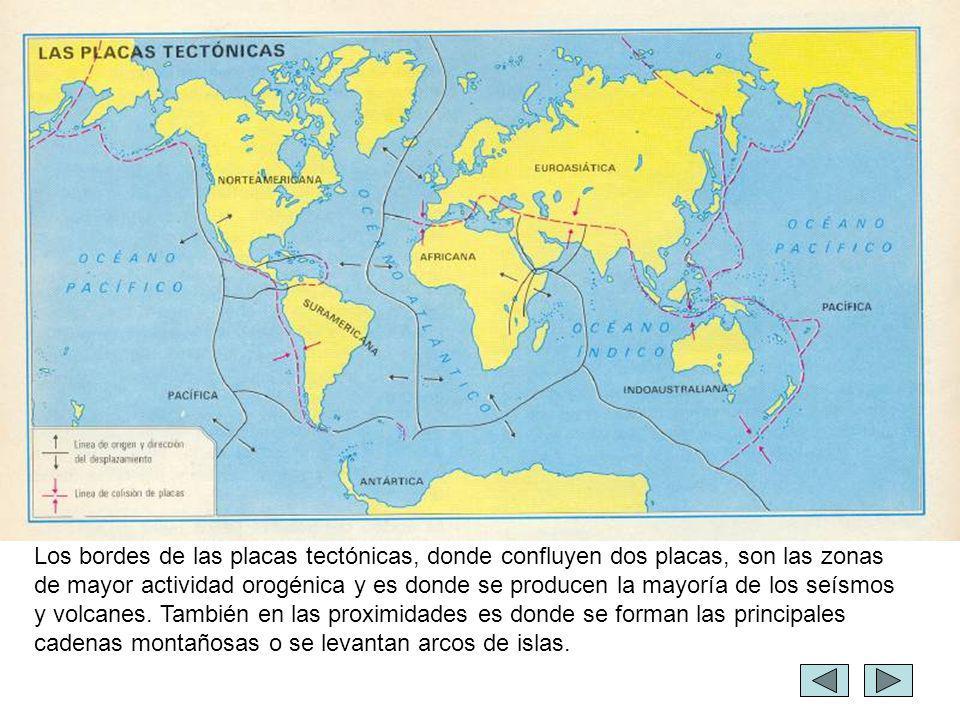 Los bordes de las placas tectónicas, donde confluyen dos placas, son las zonas de mayor actividad orogénica y es donde se producen la mayoría de los seísmos y volcanes.