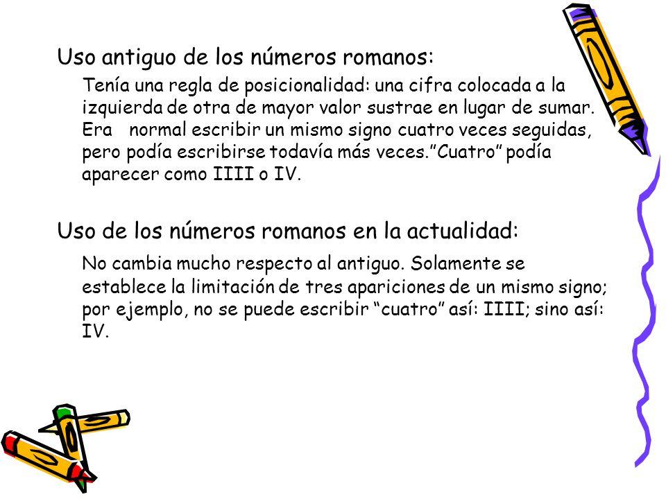Uso antiguo de los números romanos:
