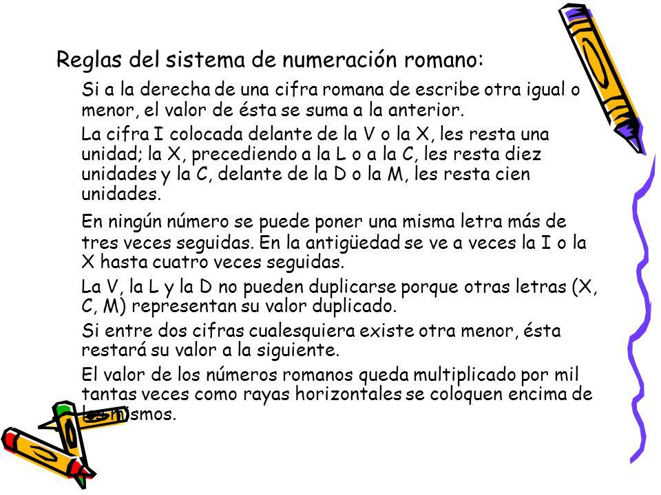 Reglas del sistema de numeración romano: