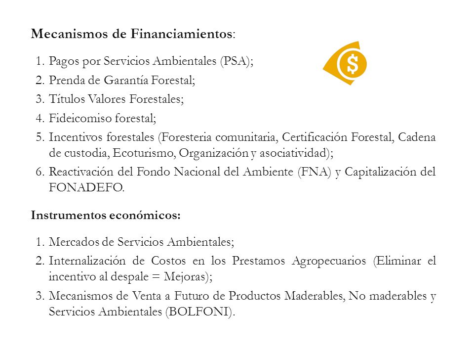 Mecanismos de Financiamientos:
