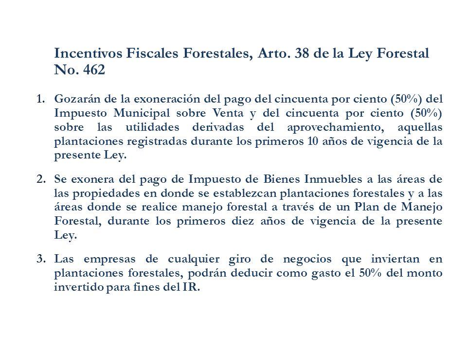 Incentivos Fiscales Forestales, Arto. 38 de la Ley Forestal No. 462