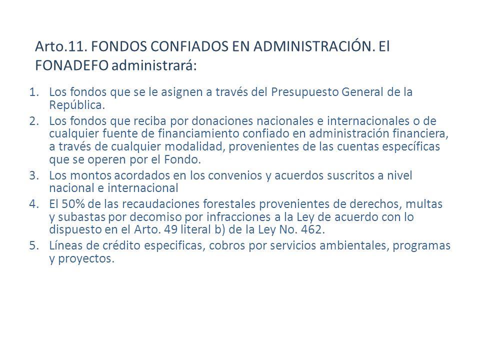 Arto.11. FONDOS CONFIADOS EN ADMINISTRACIÓN. El FONADEFO administrará: