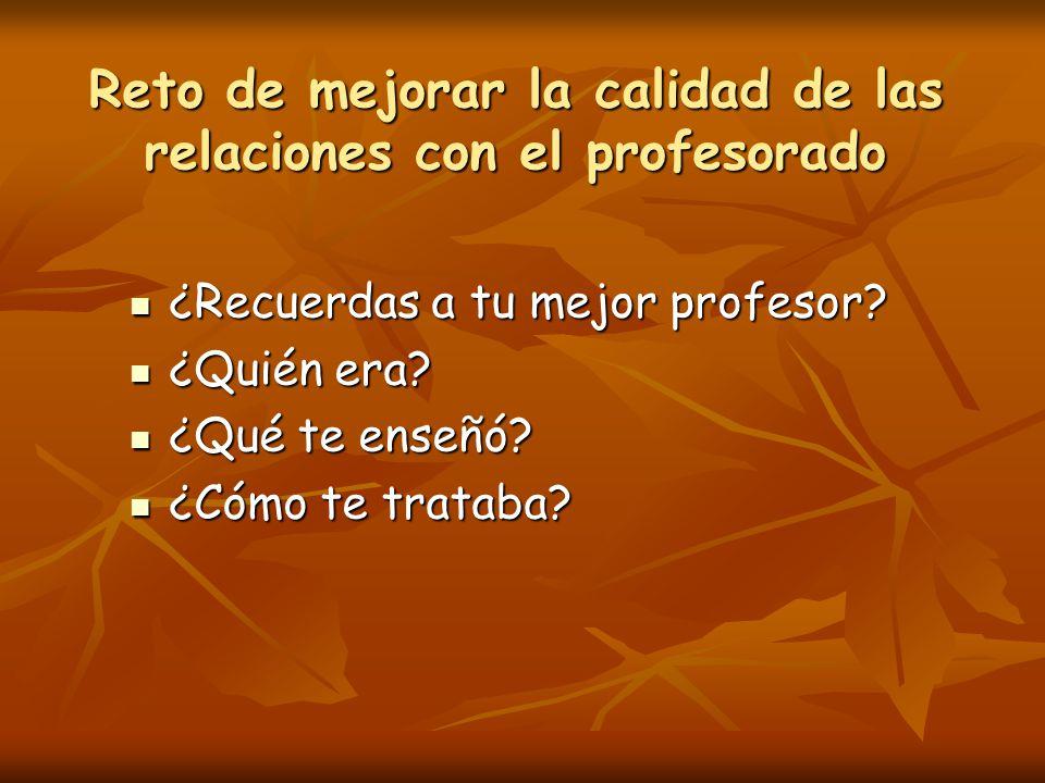 Reto de mejorar la calidad de las relaciones con el profesorado