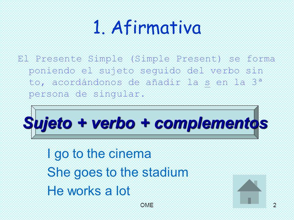 Sujeto + verbo + complementos